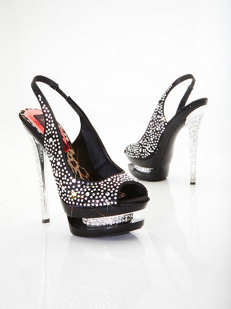 Double Platform Rhinestone Stiletto