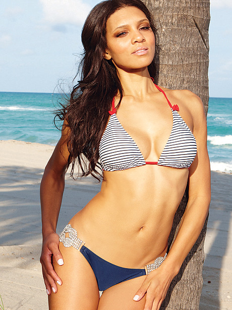 Nautical Stripe & Rhinestone Bikini