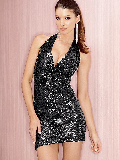 Twist Front Sequin Halter Dress