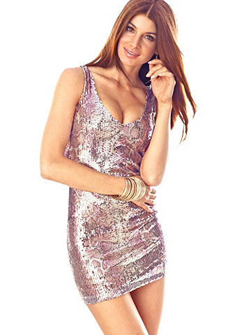 Sequin Snakeskin Dress
