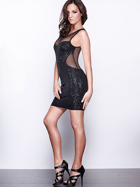 Sequin & Mesh Illusion Dress