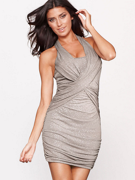 PLUNGING NECK GLITTER DRESS