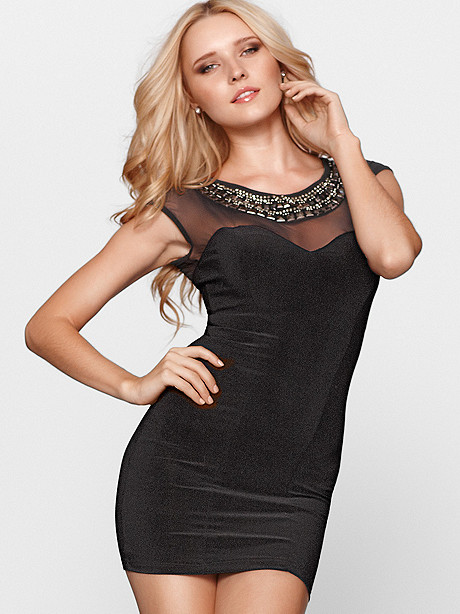 Rhinestone & Mesh Dress