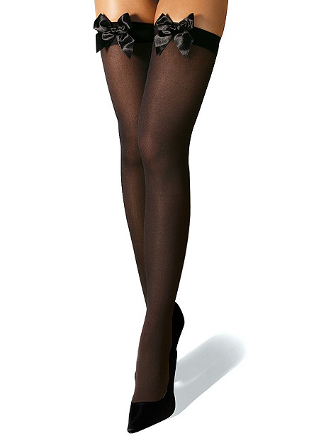 Bow Front Opaque Thigh High