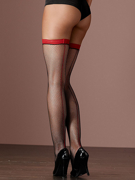 Color Backseam Fishnet Thigh High Plus