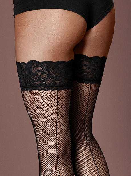 Lace-Top Backseam Fishnet Thigh-High