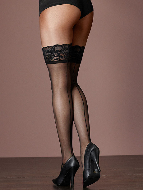 Backseam Lace Top Thigh High