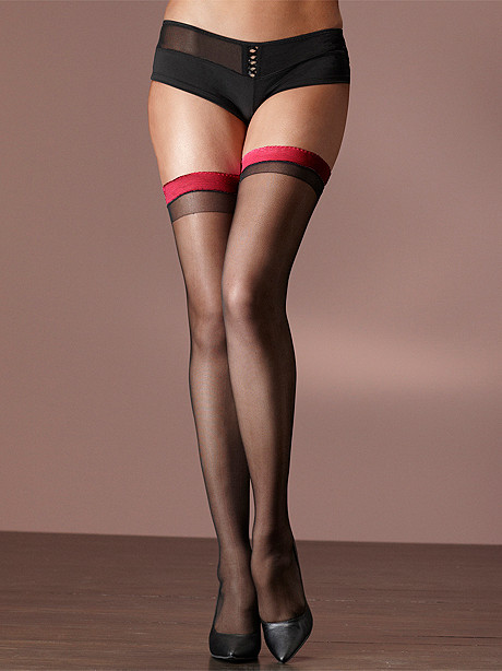 Color Band Backseam Thigh High