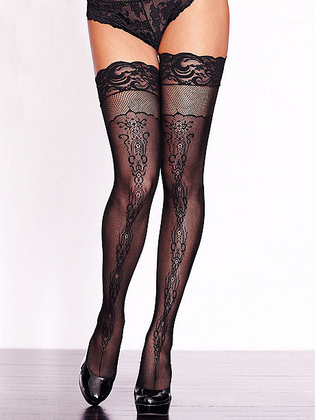 Patterned Fishnet Thigh High