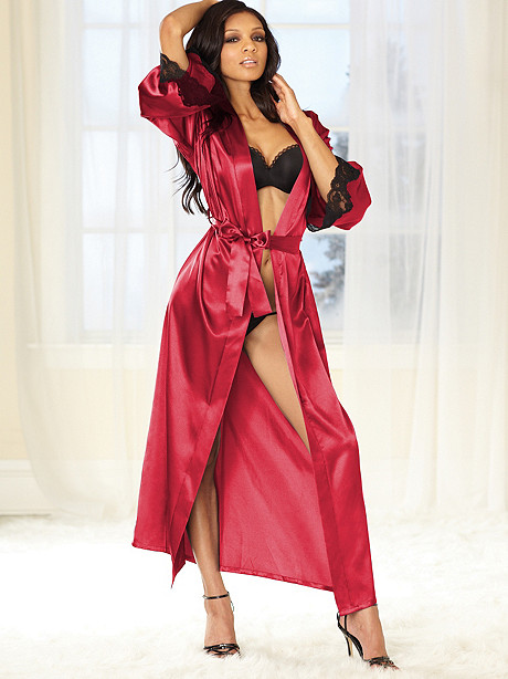 Long Satin Shawl Collar Robe