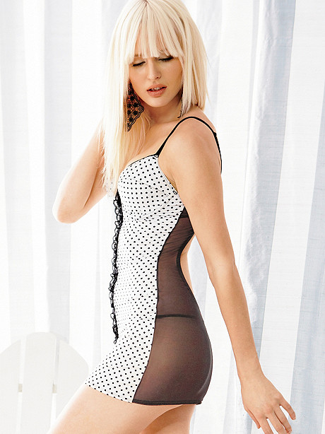 Hot for Dots Lace-Up Chemise