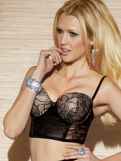Lace Over Mesh Longline Bra