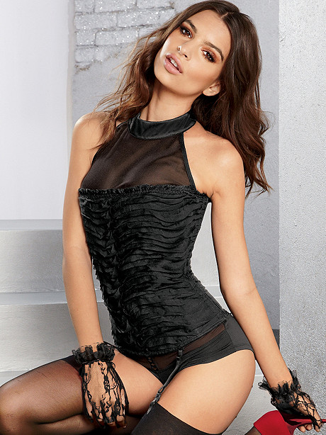 Ruffled Satin Collar Corset