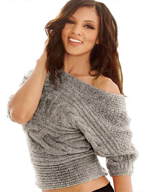 Off-Shoulder Cable Knit Sweater