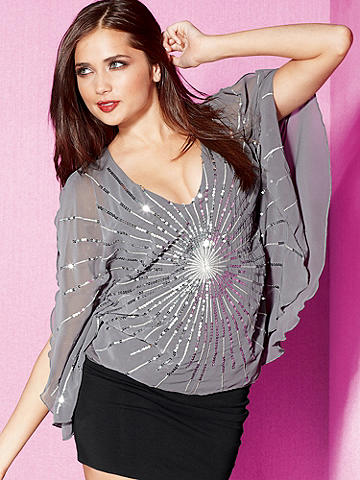 Sunburst Sequin Chiffon Top