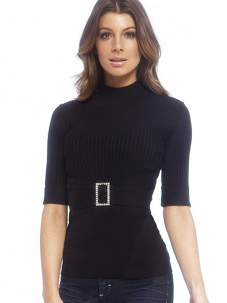 Rhinestone Buckle Sweater