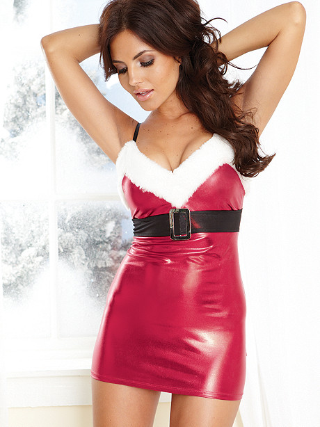 Red Satin & Fur Trimmed Mini Dress