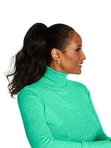 "Sensational 16"" Loose Body Curl - My new Beverly Johnson Drawstring Ponytail™ adds long, luxurious, natural-looking style to your hair. I use only lustrous Natura™ synthetic fiber hair to create a luster and feel that blends perfectly with your own hair. Amazingly, my Beverly Johnson ponytail responds to your styling just like your regular hair and withstands curling and flat iron heat of up to 400º. Enjoy! —Beverly Johnson"