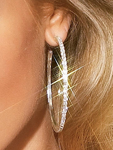 Rhinestone Hoop Earring - Style comes full circle in our glittering hoop earring. Post closure. Imported.