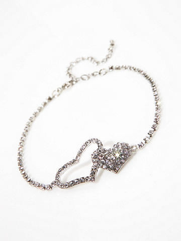 """Rhinestone Double Heart Anklet - Shimmer with sexiness, from head to toe. Adjustable 9""""-11 1/2"""". Imported."""
