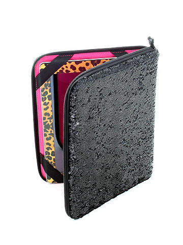 "Sequin Ipad Case - Covered in sparkling sequins, this case features a protective light foam interior. Other details include an elastic inner corner to hold device in place and eight interior open pockets. Zip closure. Fits standard ipad. Length: 10 1/2"". Width: 8 3/4"". Imported."
