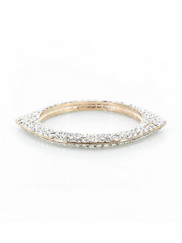 Pointed Rhinestone Bangle - Stackable, glittering and a must-have. Crafted from hammered metal and sparkling rhinestones, this is the bracelet to take you look to the next level of chic! Imported.