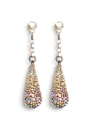 Swarovski Spectrum Drop Earring - In a classic silhouette, this earring is an elegant finish to any look. Set with stunning ombré Swarovski crystals, it's the ultimate in sparkling glamour for day-to-night accessorizing. By Tarina Tarantino. Handmade in the USA.