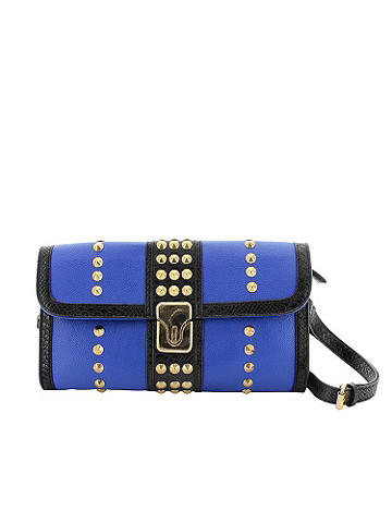 Studded Clutch Envelope  - In a versatile and glam enevelope silhouette. The clutch gets updated with bold studding and a two-tone design. Finished with an optional shoulder strap. Imported.