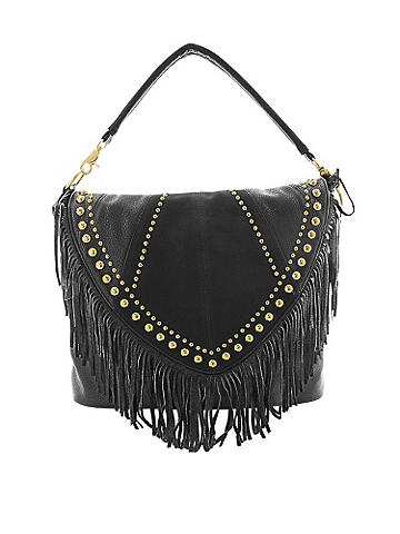 fringed messenger bag - The crossbody bag gets a moto-chic update! Featuring studded detail across the top of the flap and a swinging fringe finish. Beautiful interior lining. Adjustable shoulder strap for a crossbody option. Imported.