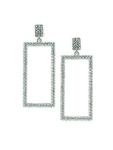 Rectangle rhinestone earring
