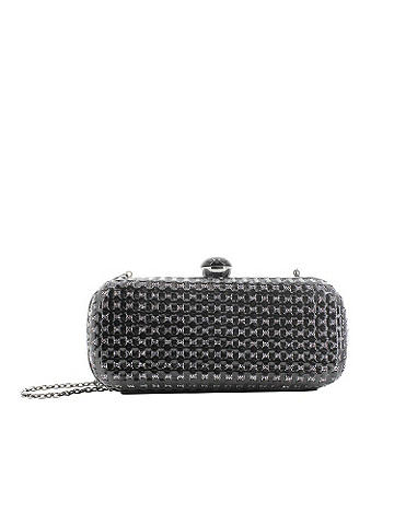 Basketweave clutch - Hardsided shimmering perfection. In alternating bands of faux-patent and shmmer, it's an edgy finish to your late-night looks. Enamel clsoure. Optional shoulder strap for wearable ease. Velvet lining. Imported.