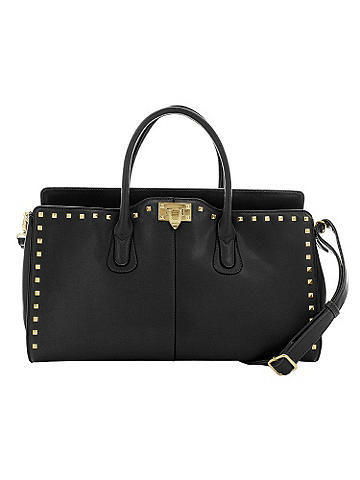 studded satchel bag - This studded carryall bag isß the epitome of chic. Big enough to hold all your daily essentials, it features two handles, one a shoulder strap for wearable ease. Lined in a delicate floral print and finished with a zipper compartment in back, it's the must-have bag of the year! Imported.