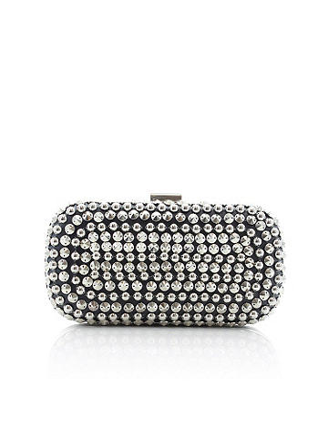 Allover Studded Clutch -  Allover studs are the perfect party accessory. Amp up any going-out-look with this hardsided clutch for a look that's savvy, stylish and oh-so sexy! Hardsided. Clasp closure with rhinestone at top. Imported.