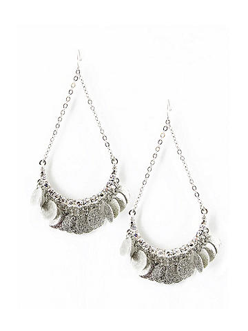 Metal Coin Earring - Polish off your look in style! Hammered coin adornments dangle alluringly, so you'll be noticed from sun up to sun down. Chain finish and a fishhook clasp. Imported.