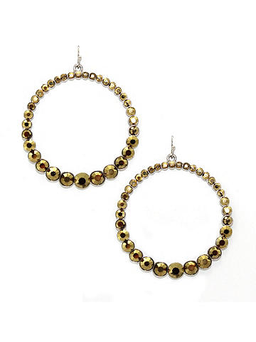 Set in Stone Hoop Earring - Pavé-set stones lend an air of elegance to this hoop earring. Post back. Imported.