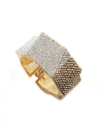 Rhinestone Bracelet - Light up the evening with our luminous bracelet. An angular design adds a stunning edge. Hinged closure. Imported.