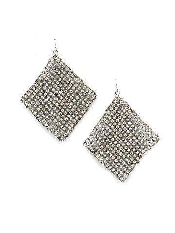 Rhinestone Mesh Earring - Mesh squares of rhinestones add a bold pop of spark after dark. Finish your night-out look with a touch of glamour. Imported.