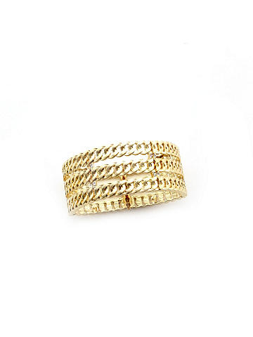 Stretch Link Bracelet - Light up the evening with our luminous bracelet. Three rows of goldtone links add a stunning edge. Hinged closure. Imported.