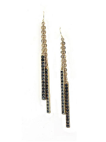 Double Drop Earring - Add a shot of sparkle after dark with these pieces. The perfect way to glam up a body-con dress when you step out at night. Imported.