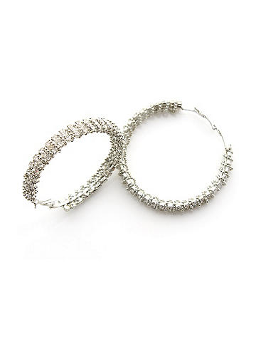 Bold Rhinestone Hoop - Add a touch of sparkling elegance to your after-dark style. Simple hoop earrings are embellished with a bold pop of rhinestones. Imported.