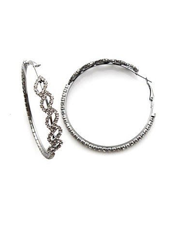 Rhinestone Swirl Hoop - Add a touch of sparkling elegance to your after-dark style. Simple hoop earrings are embellished with a subtle swirl of rhinestones. Imported.