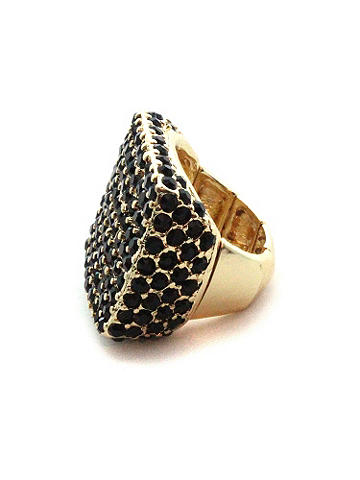 Black Stone Stretch Ring - This cutting-edge ring adds a does of downtown chic to your style. The stretch square ring is embellished with black stones. Imported.