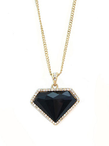 Onyx Pendant Necklace - Embolden your style with this A-list accent. The goldtone chain is finished with a diamond-shaped faux onyx pendant. Imported.