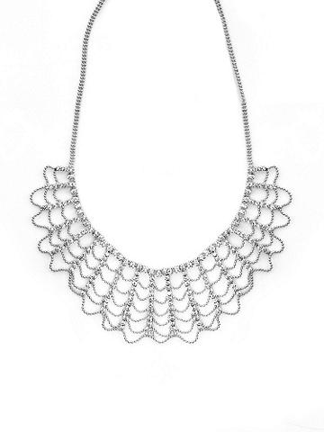 Rhinestone Collar Necklace - A does of high-voltage sparkle for your neckline. Dress up nights out with this glittering piece in an intricate scalloped design. Imported.