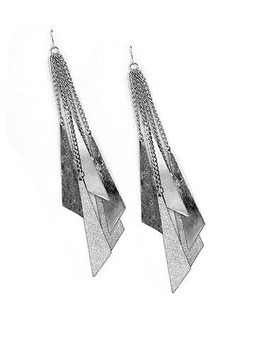 Shimmer and Silver Dangle Earring - An effortless way to shine. Shimmering silvertone accents cascade from a wire hook. Imported.