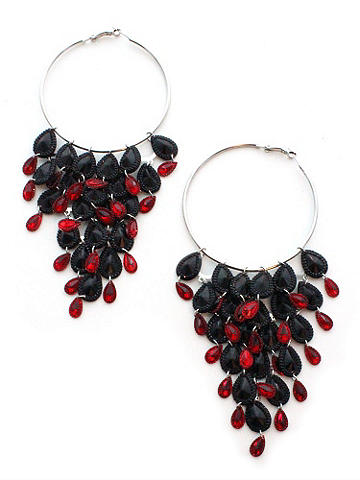 "Hanging Sequin Hoop Earring - The most stunning accent of the season. Diamond-cut, red and black teardrop gems dangle from 2 5/8"" diameter hoops. Imported."