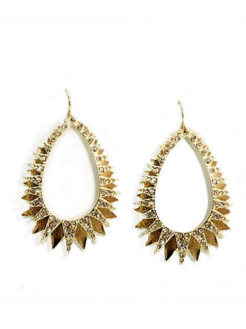Rhinestone Spike Hoop Earring - 'Tis the season to light up the night! This high-wattage accents pop with rhinestones in a spike design. Fish hook closure. Imported.