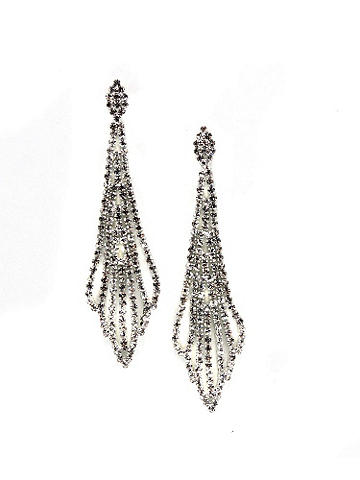 Exquisite Rhinestone Earring - The most intricate rhinestone design with a touch of Art Deco flair adds the perfect accent to all your after-dark styles. Imported.