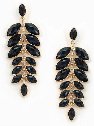 Cascading Leaf Earring - Cascading leaves accented with rhinestones create this stunning design. Post closure. Imported.