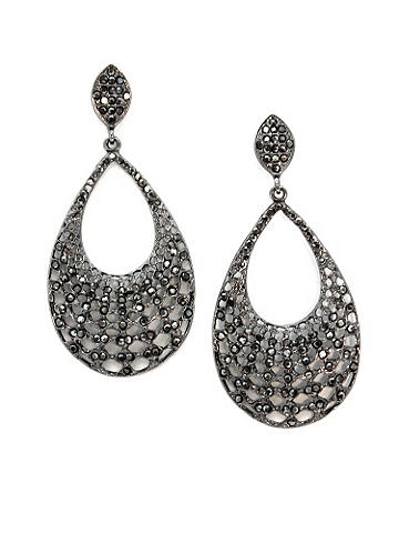 Rhinestone Teardrop Hoop Earring - A dazzling drop of black rhinestones adds a seductive touch to your style. Post closure. Imported.